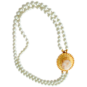 Vintage Glass Pearl Necklace Restyled  with Victorian Revival Shell Cameo Brooch  Clasp
