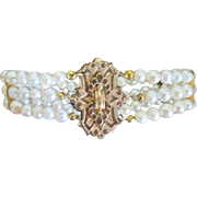 Triple Strand Freshwater Pearl Bracelet Restyled with Victorian G.F. Holloware Brooch Bridal .