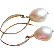 SOLD Large White Freshwater Keishi Pearls Contemporary Hammered Sterling Earwires