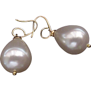 SOLD South Sea Shell Pearls Large and Pear Shaped on Vintage Vermeil Earrings