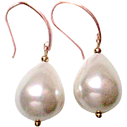 SOLD Large Pear Shaped Sea Shell Pearls  on Rose Gold Vermeil Earrings