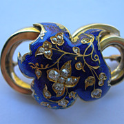 14K Gold Diamond and Enamel Victorian Era Antique Brooch with Trombone Clasp