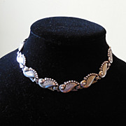 Arts & Crafts Sterling Silver Necklace with Stylized Leaf Links