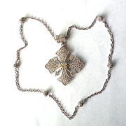 SALE Gorgeous Sterling CZ Maltese Cross Necklace Signed ESPO