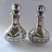 SALE Gorham Sterling Overlay Perfume Bottle Matched Pair