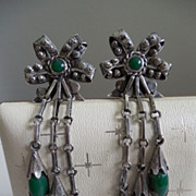SALE Amazing Vintage Mexican Sterling Earrings With Green Glass or Stone - Signed Quinto