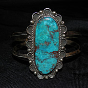 SALE Large Vintage Navajo Bracelet - Silver with Turquoise Stone