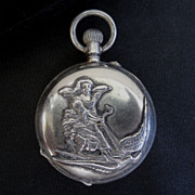 Antique 935 Sterling Silver Thumbelina  Fairy Tale Pocket Watch