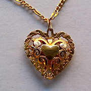SALE 14K Gold Filigree Heart On 14K Gold Chain