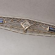 14K Gold and Diamond White Gold Bar Pin