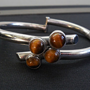 SALE Signed ERE Hinged Bypass Bracelet With Tiger's Eye