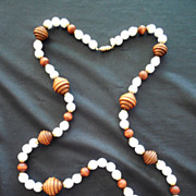 Vintage Kenneth Lane Long Milk Glass And Wood Necklace