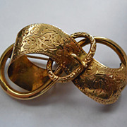 SALE Lovely Victorian Buckle Brooch - Signed 228 VZ