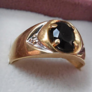 14K Gold Two Tone Ring With Blue Stone and Diamonds