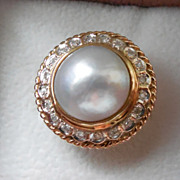 SALE 14K Gold Mabe Pearl Ring Surrounded By Diamonds