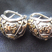 SALE John Hardy Sterling & 18K Gold Earrings Fleur De Lis Dots
