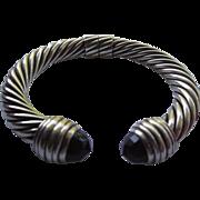 SALE David Yurman Cable Classics Bracelet - Hinged Center Onyx Stones