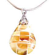 SALE Mosaic Amber Pendant Sterling Silver Necklace
