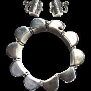 SALE Chunky Sterling Silver Beaded Barrel Set - Bracelet Earrings Mexico