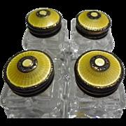 Set Of 4 Norway Golden Yellow Guilloche Enamel Sterling Goldwashed Salt & Pepper Shakers