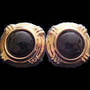 14K Gold And Black Enamel Earrings