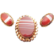 SALE Signed Winard Gold Filled And Striped Agate Pendant Brooch and Earring Set