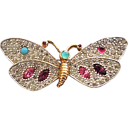 Jeweled Butterfly Brooch Signed Mazer - Pave Crystals and Colorful Stones