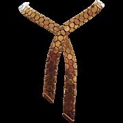 Trifari Alfred Philippe Pat Pending Golden Honeycomb Tesselated Cravat Necklace