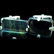 Mid Century Modern Sterling and Black Stone Rectangular Cufflinks