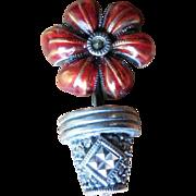 SALE Judith Jack Sterling Silver Enamel Marcasite Flower Pot Brooch