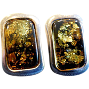 Vintage Sterling Silver And Green Amber Earrings From Poland