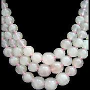 Triple Strand Rose Quartz Pink Necklace - Stone of Love