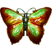SALE Sterling Silver and Enamel Orange and Green Butterfly