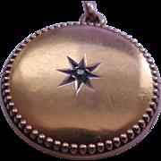 Antique Victorian 10K Gold Diamond Locket Star Center & Beaded Border - 4 Grams