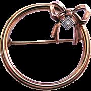 SALE Rare Signed Diana Art Deco 10K Gold Diamond Brooch (Krementz)