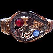 Vintage Signed Carmen Expansion Bracelet Tri Color Horseshoe Shape W Rhinestones