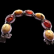 SALE Vintage Egg Yolk And Honey Amber Bracelet - Sterling Silver 23.5 Grams