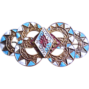 French Arts & Crafts Brass Cloisonne Enamel Slide - Scroll & Floral Motif - Blue White and Red