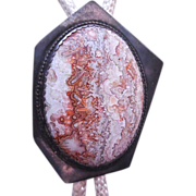 SALE Large Vintage Native American Sterling & Lace Agate Hexagon Bolo Tie