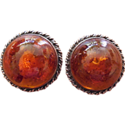 SALE Vintage Sterling Silver And Amber Dome Shaped Earrings