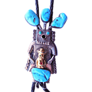 Signed Sterling Native American Bolo Tie - Kachina Figure Signed and Numbered - John Larson ..