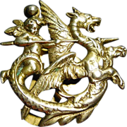 SALE Rare Art Deco Era Signed Coppini 800 Silver Angel Slaying Dragon Clip - Putti Cherub