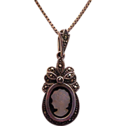 SALE Beautiful Vintage Sterling Silver Marcasite Cameo Necklace