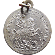 SALE Rare Vintage Saint George Slaying The Dragon Medal - Latin Inscription