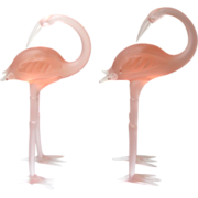 SALE Gorgeous Pink Art Glass Flamingo Figurines