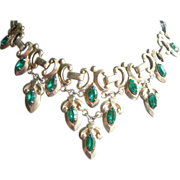 SALE Vintage Bib Necklace Signed Barclay - Green Crystals With Snake Chain