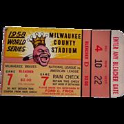 SOLD 1958 World Series Baseball Ticket Stub Bleacher D Game 7 NY Yankees Vs Braves