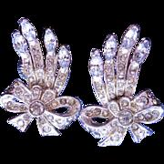Vintage Coro Rhinestone Earrings - Sparkly Crystals