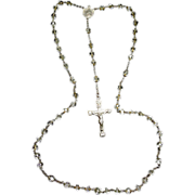 SALE Beautiful Vintage Crystal Rosary Signed Sterling Cross - Capped Beads