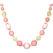 SALE Fabulous French Glass and Galalith Bead Necklace - Pink And White